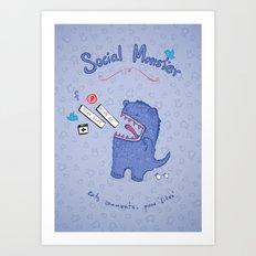 Social Monster Blue Art Print