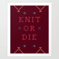 Knit Or Die Art Print