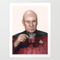 Tea. Earl Grey. Hot. Captain Picard Star Trek | Watercolor Art Print