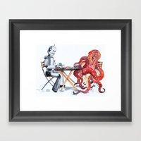 Robot Octopus Coffee Date Framed Art Print