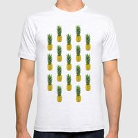 Pineapple Pattern Mens Fitted Tee Ash Grey SMALL