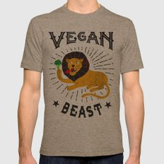 Vegan beast Mens Fitted Tee Tri-Coffee SMALL