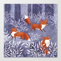 Foxes and Fireflies Canvas Print