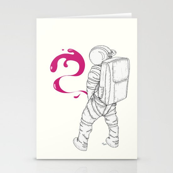 P{ee}ink in Space Stationery Card