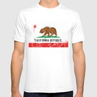 California Flag Mens Fitted Tee White SMALL