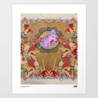 Giddy-Up Fairytale Cowgirl Unicorn Art Print