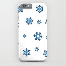 Snowflakes (Blue & Black on White) Slim Case iPhone 6s
