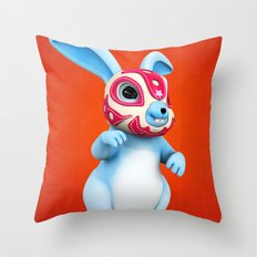 Lucha Rabbit-Blue Brother Throw Pillow