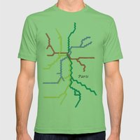 Paris Metro with Text Mens Fitted Tee Grass SMALL