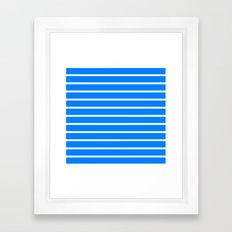 Horizontal Lines (White/Azure) Framed Art Print