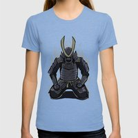 Samurai Spirit Womens Fitted Tee Tri-Blue SMALL