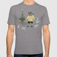 Bear, Christmas Tree and Bunnies Mens Fitted Tee Tri-Grey SMALL