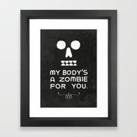 Zombie Love Framed Art Print