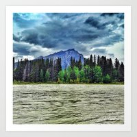 The River and a Mountain of Lightning Art Print
