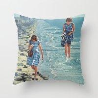 Walk on the Beach Throw Pillow