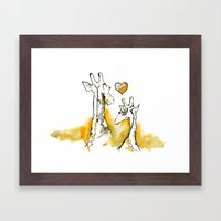 Giraffe love Framed Art Print