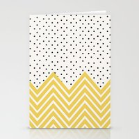 Chartreuse Chevron and dots  Stationery Cards
