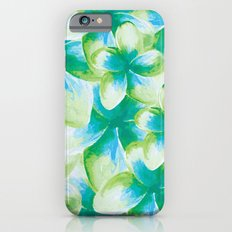 Blue Plumeria Floral Watercolor iPhone 6s Slim Case
