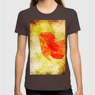 Poppy Art And Texture Womens Fitted Tee Brown LARGE