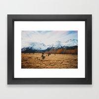 Peaceful New Zealand mountain landscape Framed Art Print