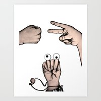 Rock, Scissors, Hanz Art Print