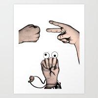 Rock, Scissors, Hanz Art Print
