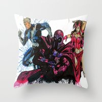 Magneto, Quicksilver, Scarlet Witch Throw Pillow