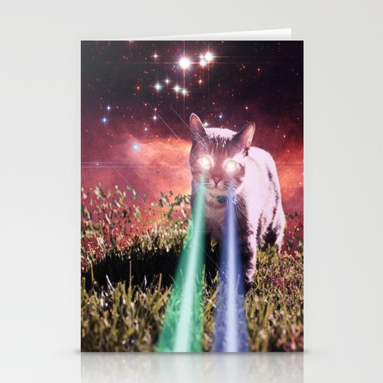 Mega Space Cat Rising Stationery Card