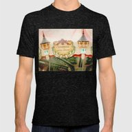 Jules Verne Carousel Art… Mens Fitted Tee Tri-Black SMALL