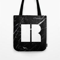 Black Marble - Alphabet R Tote Bag