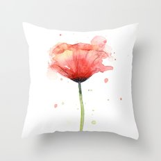 Red Poppy Watercolor | Floral Illustration Throw Pillow