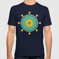 Chicks and Hens Mandala Mens Fitted Tee Navy SMALL