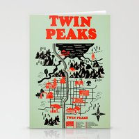 map Stationery Cards featuring Twin Peaks Map by Robert Farkas
