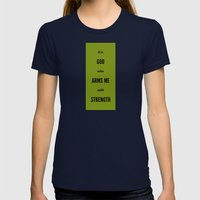 ARMS ME WITH STRENGTH Womens Fitted Tee Navy SMALL