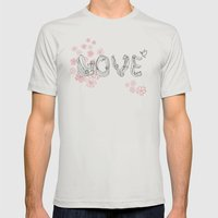 love. Mens Fitted Tee Silver SMALL