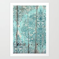 Teal & Aqua Botanical Do… Art Print