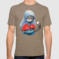 Boxing Cat Mens Fitted Tee Tri-Coffee MEDIUM