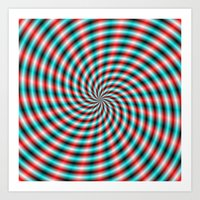 Turquoise And Red Spiral… Art Print