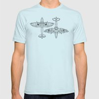 Spitfire Mk. XIV (black) Mens Fitted Tee Light Blue SMALL