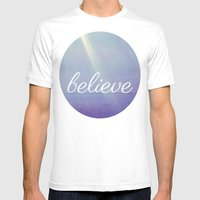 Believe {Purple Version} Mens Fitted Tee White SMALL