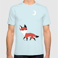 Moon Fox Mens Fitted Tee Light Blue LARGE