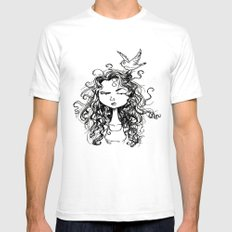 curly hair Mens Fitted Tee White SMALL