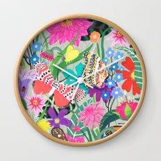 Butterflies and Moths Pattern - Grey Wall Clock