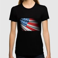 Flag of USA Womens Fitted Tee Black SMALL