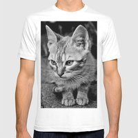 Kitty Cat Mens Fitted Tee White SMALL