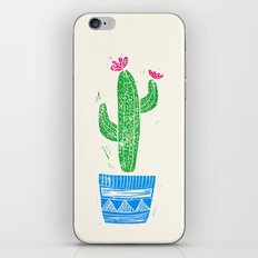 Linocut Cacti #2 in a pot iPhone & iPod Skin