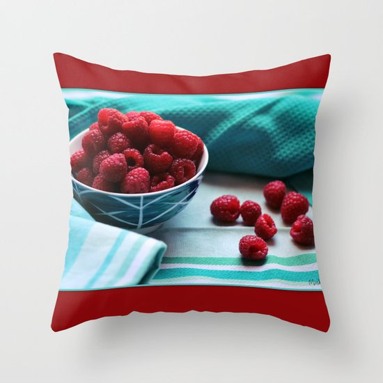 Ruby Delicious - Raspberry Still Life Throw Pillow