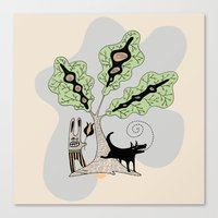 Black Dog and his Rabbit Friend Canvas Print