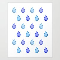 Blue raindrops Art Print