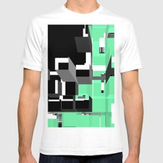Digital Squares Mens Fitted Tee White SMALL